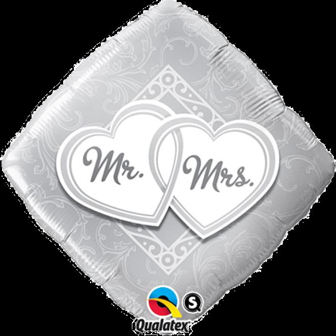 /& Mrs Folienballon Herz Mrs 45cm