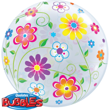 Bubble Ballon Blumen Ø 56 cm - Qualatex -