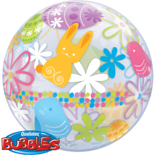 Bubble Ballon Ostern - Osterhase, Küken, Blumen Ø 56 cm - Qualatex -