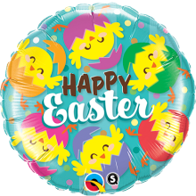 Folienballon Happy Easter (Frohe Ostern) - Osterküken Ø 45 cm - Qualatex -