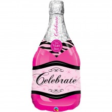 Folienballon Sektflasche Pink - Celebrate 99 cm - Qualatex -