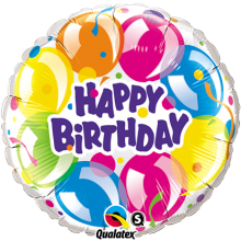 Folienballon Happy Birthday - Funkelnde Luftballons Ø 45 cm - Qualatex -