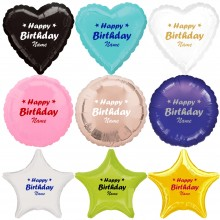 Happy Birthday + Name - Folienballon Freie Farb + Formwahl Ø 40-50 cm