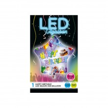 LED Stern Bunt - Happy Birthday - Leuchtender Folienballon Ø 62 cm