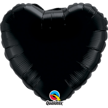 Folienballon Herz - Schwarz Ø 45 cm - Qualatex -