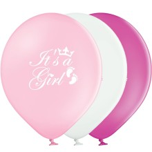 Babyparty Luftballons: It`s A Girl - Freie Farbwahl