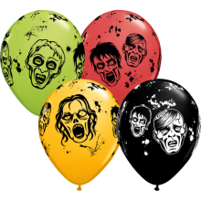 Luftballons Zombies Ø 28 cm - Qualatex - 5 Stück