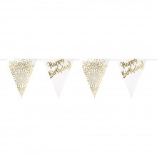 Wimpelkette Geburtstag - Happy Birthday - Gold Gepunktet - 6 m