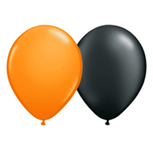 Luftballons Halloween: Schwarz, Orange Ø 25 cm
